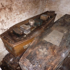 Coffins in the Corsellis family vaults. Note the urns on the left hand coffin. | Picture by Peter Hill