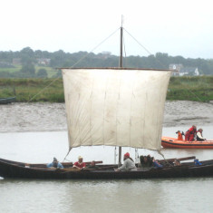 The Sae Wylfing,  a half-size scale replica of a Viking long boat, which joined the Regatta this year, a sight not seen on the river for at least 1,300 years.  It is based on the 27 metre longship buried in Sutton Hoo in Suffolk around 630 AD.  | Photo Peter Hill