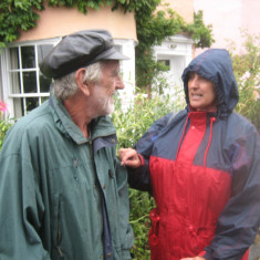 Tom Roberts from the Wivenhoe Society talking to Bonnie Hill | Photo Peter Hill