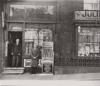 Tilf Glozier Senior and Junior outside their shop (now an estate agent) opposite the Greyhound Public House in the High Street. | Wivenhoe Memories Collection