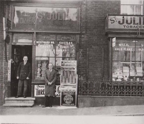 Tilf Glozier Senior and Junior outside their shop (now the Estate Agent's) opposite the Greyhound Public House in the High Street. | Wivenhoe Memories Collection