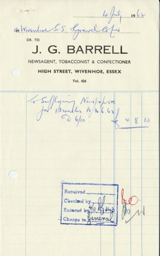 Receipt from  J. G. Barrell's  newsagent's shop for Wivenhoe Sand and Gravel dated 4 July 1962   Wivenhoe Memories Collection