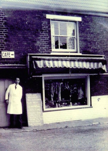 The Coop Butchers' on Black Buoy Hill with Terry Endean, the Co-op Manager, standing in the doorway. | Wivenhoe Memories Collection