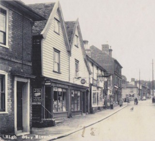 The lower end of the High Street showing Mr Smith's Sweet Shop. | Wivenhoe Memories Collection
