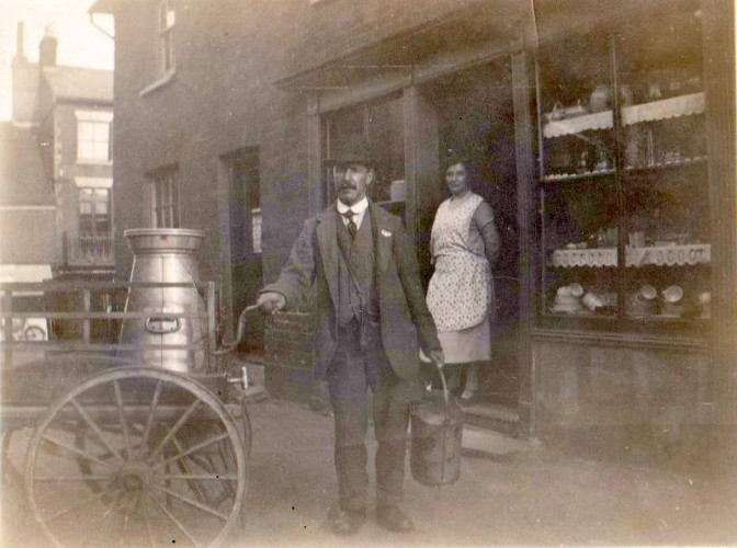 Bill Payne, the dairyman, outside his shop in East Street | Wivenhoe Memories Collection