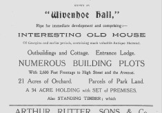 Auction of Wivenhoe Hall Estate 17th March 1927