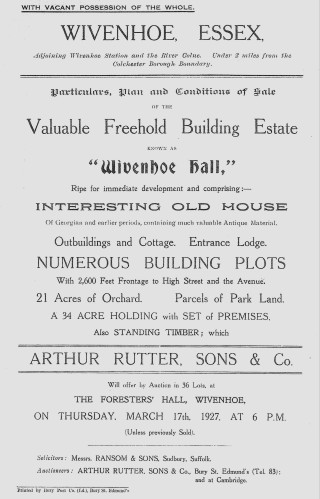 Notice of the Auction of the Wivenhoe Hall Estate 17 March 1927 | Included in the Auction Pack
