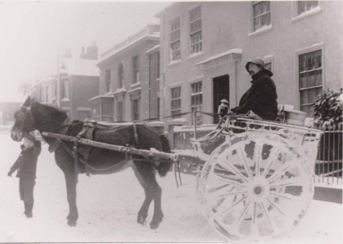 Bill Payne, the dairyman, in the High Street | Wivenhoe Memories Collection