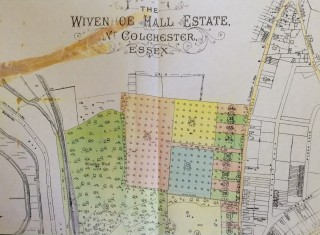 Enlargement of top half of 1927 Auction Plan | 1927 Auction Plan for Wivenhoe Hall Estate
