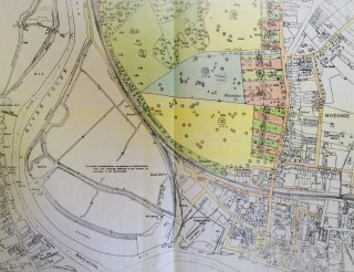 Enlargement of lower half of 1927 Auction Plan | 1927 Auction Plan for Wivenhoe Hall Estate