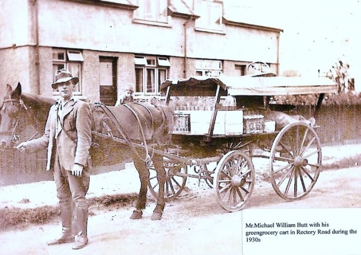 Michael William Butt with his greengrocery cart in Rectory Road during the 1930s. | Wivenhoe Memories Collection