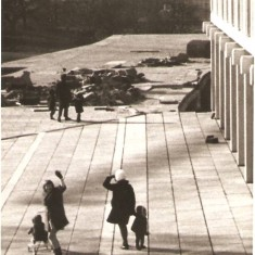 Pat and Dennis Marsden walking round the new buildings of the University of Essex with family and friends, January 1968. | Pat Marsden