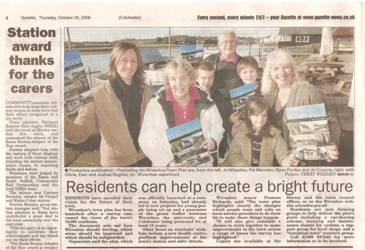 Launching the Wivenhoe Town Plan | Colchester Gazette 30.10.08