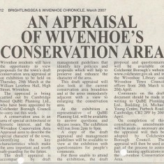 Wivenhoe Conservation Area Appraisal, March 2007 | Brightlingsea and Wivenhoe Chronicle, 30 March 2007