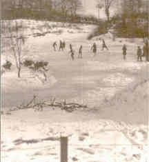 Cold enough to skate on Chamberlain's Pond on Rectory Hill circa 1947 | Wivenhoe Memories Collection