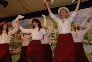 Zoe Mayhew and Jane Leydon and others as morris dancers