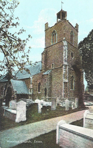 A picture of St Mary's Church taken after the 1884 earthquake. Notice the damage to the top of the tower.  | From a picture postcard bought by Peter Hill