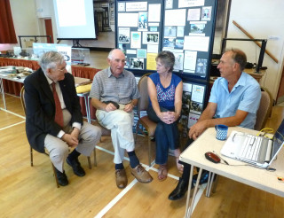 Peter Green, Ray Hall, John's sister Carol, and John Stewart sharing stories about Wivenhoe long ago!  | Peter Hill