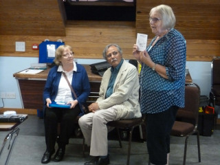 Gill Strudwick speaking to the meeting about the Roll of Honour and the booklet produced by Frank & Gillian Baker about the soldiers who died in WW1 | Photo Peter Hill