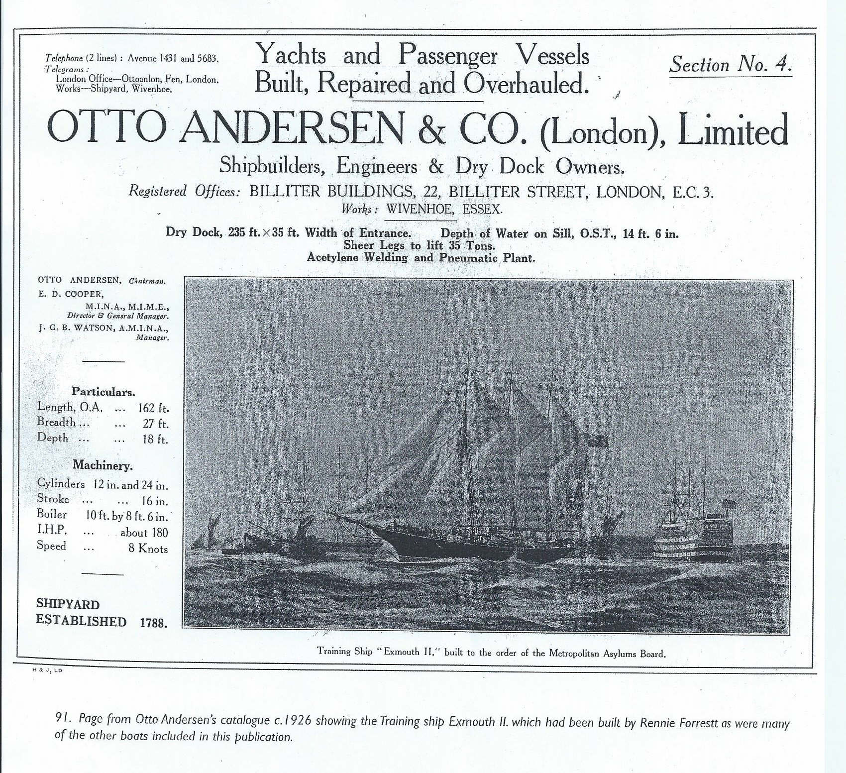 An advert which appeared in Otto Andersen's catalogue of around 1926 showing the training ship Exmouth II which had actually been built by Rennie Forrestt, the company that had previously owned the yard.