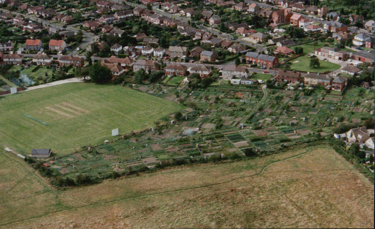 Aerial view of the Allotments in about 2004
