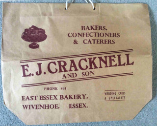 A paper bag from bakers E.J. Cracknell. Notice the telephone number.  | Found and photographed by Roger Mallett