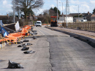 Construction work on Colchester Road and the new cycle track  | Photo by Peter Hill