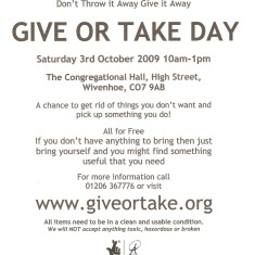 Give or Take Day, organised following the establishment of an Eco Team, by en-form, October 2009 | QRRA