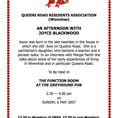 QRRA talk 'An Afternoon with Joyce Blackwood', May 2007 | QRRA