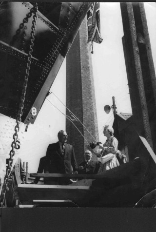 Miss Sheilah Robarts, Leonard Cockrell's granddaughter, launching The Leonard Cockrell on 19th July 1958 in honour of Leonard Cockrell of Wivenhoe  | Picture loaned by Colin Fincham