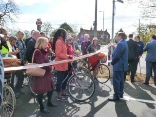 Some of the cyclists who gathered for the formal opening of the Cycle Path on 21st April 2016  | Photo by Peter Hill