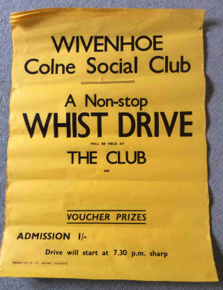 A Colne Social Club poster of unknown date   | Found and photographed by Roger Mallett