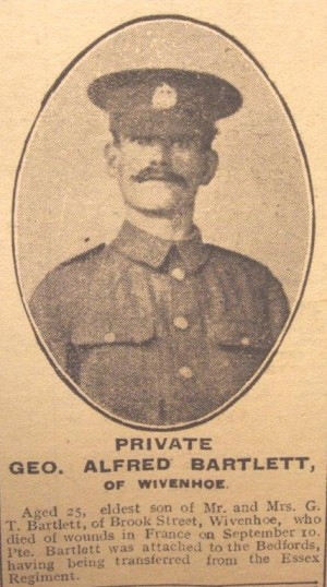 The death of Private George Alfred Bartlett was reported in the Essex County Standard on 29th September 1917  | Picture from Essex County Standard 29 Sept 1917