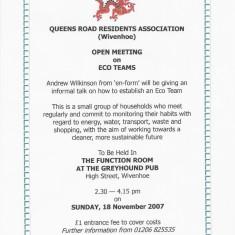 QRRA Open Meeting to discuss establishment of local ECO Team, November 2007   QRRA