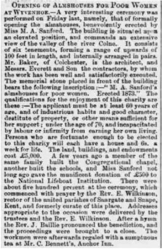 Newspaper Report July 1873