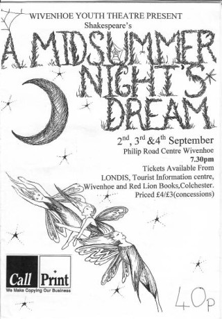 Programme cover for Wivenhoe Youth Theatre's