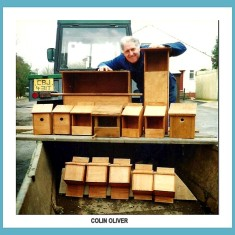 Colin Oliver with all the bird, owl and bat boxes he made to go into the Old Cemetery in 1994 | Photo taken by Antoinette Stinson