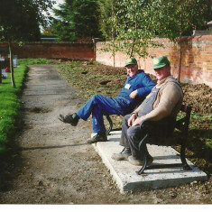 Colin Oliver and Melvyn Skeet in Wivenhoe's New Cemetery in 1992 | Toni Stinson