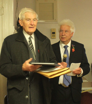 Peter Hill, Chairman, Wivenhoe History Group, who presented Ian Valentine with a personal copy of the Roll of Honour in November 2016. | Photo by Jeannie Coverley