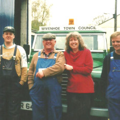 Melvyn Skeet's last day working for Wivenhoe Town Council in 2001 after several years of very good service. In the picture, left to right:  Melvin's son, Brian Skeet; Melvin Skeet; Toni Stinson; and Jim Young.