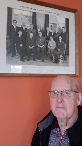 Mr. D.F. Sweeting, former Surveyor and Public Health Inspector of Wivenhoe Urban District Council visited the Town Council offices on 22 April 2016. (seated in the corner next to Cllr. Miss Grasby) | Photo by Toni Stinson