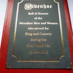 Wivenhoe's Roll of Honour listing all of the people who served  in WW1