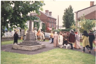 The horse led a procession of the cast, all in period costume, around the streets of Wivenhoe before each performance