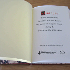 The Inside cover of the Roll of Honour, the cost of which was part-funded by a grant from the Heritage Lottery Fund