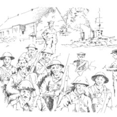 One of the sketches done by Frank Baker BA (Hons) which were first published in his booklet 'The Fallen of Wivenhoe' and later included in the Roll of Honour.