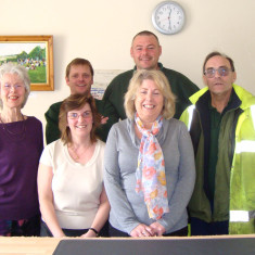 LtoR: Christine Pettitt (part-time Receptionist), back - Jim Young and Andy Hearn (groundsmen), front - Nicky Edwards - part-time Receptionist, Toni Stinson - Town Clerk, Ray Smith - Street cleaner