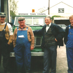 WTC outdoor work force in the summer of 2001. LtoR: Brian Skeet, Melvyn Skeet, Len Parker (Street cleaner) and Jim Young