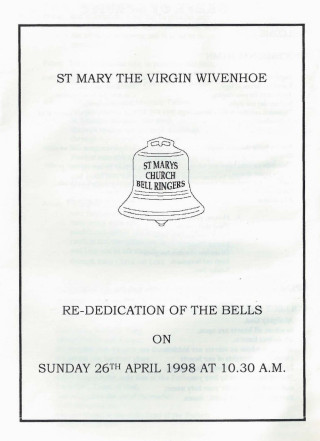Cover of the service booklet at the Re-Dedication Service of the Bells held on 26th April 1998 | Booklet given by Jane Cole
