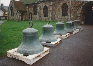The six bells waiting to go into St Mary's to be re-hung. | Photo from Jane Cole