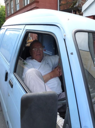 Bill Sadler parked up in his little blue van. He was there everyday. | Photo: Clive Peck